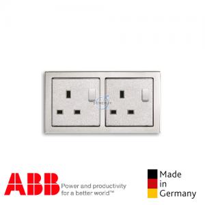 ABB future® linear 2 Gang Socket Outlet Aluminium Silver