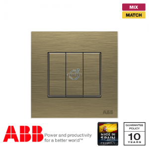 ABB Millenium 3 Gang Switch - Antique Gold
