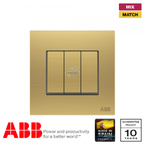 ABB Millenium 3 Gang Switch - Matt Gold