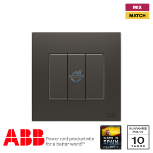 ABB Millenium 3 Gang Switch - Silk Black