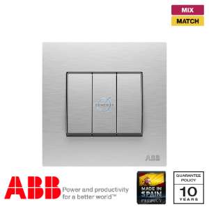 ABB Millenium 3 Gang Switch - Stainless Steel