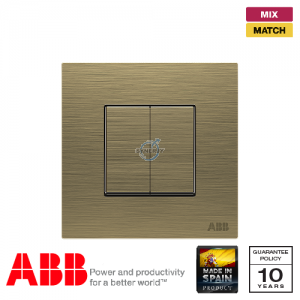 ABB Millenium 2 Gang Retractive Switch - Antique Gold