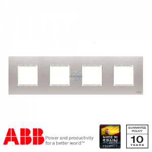 ABB Millenium 4 Gang Cover Frame Stainless Steel