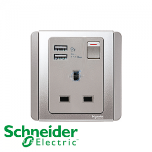 Schneider E3000 1 Gang Socket Outlet w/ USB Charger Grey Silver