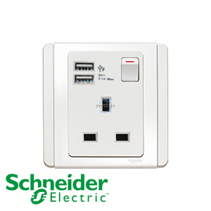 Schneider E3000 1 Gang Socket Outlet w/ USB Charger White