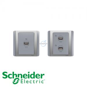 Schneider E3000 USB Socket Grey Silver