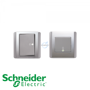 Schneider E3000 Bell Press Switch Grey Silver