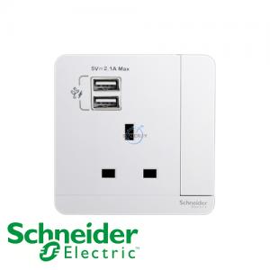Schneider AvatarOn 1 Gang Socket Outlet w/ USB Charger White