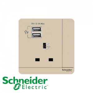 Schneider AvatarOn 1 Gang Socket Outlet w/ USB Charger Wine Gold