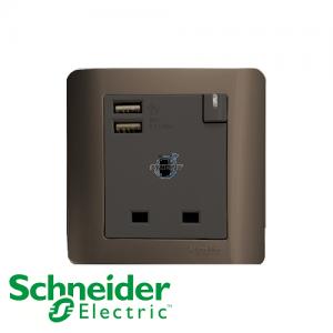 Schneider ZENcelo 1 Gang Socket Outlet w/ USB Charger Silver Bronze