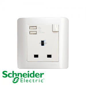 Schneider ZENcelo 1 Gang Socket Outlet w/ USB Charger White