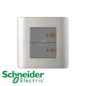 Schneider ZENcelo 2 Gang Dimmer Switch Silver Satin