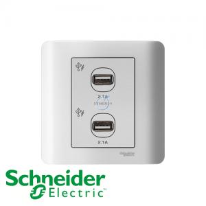 Schneider ZENcelo 2 Gang USB Socket White