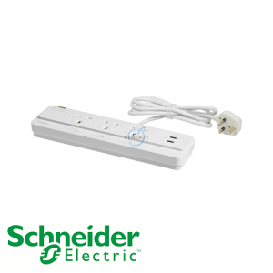 Schneider Powex 13A Surge Protection LED Socket Extension with USB