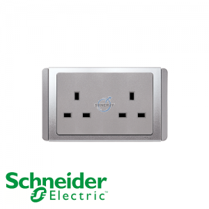 Schneider E3000 2 Gang Socket Outlet Grey Silver