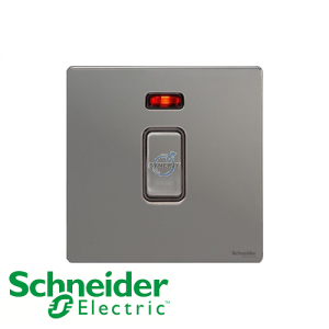 Schneider Ultimate Double Pole Switch Black Nickel Black
