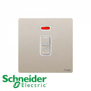Schneider Ultimate Double Pole Switch Pearl Nickel White