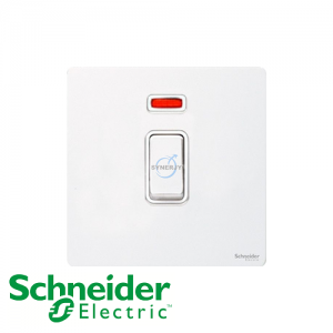 Schneider Ultimate Double Pole Switch Pearl Metal White