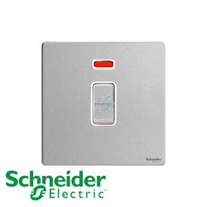 Schneider Ultimate Double Pole Switch Stainless Steel White
