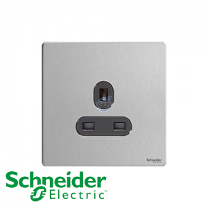 Schneider Ultimate 1 Gang Socket Stainless Steel Black