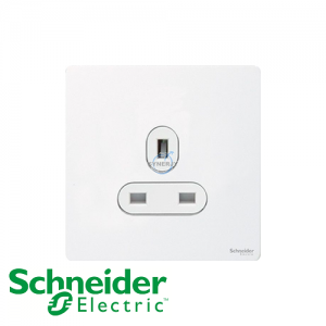Schneider Ultimate 1 Gang Socket Pearl Metal White