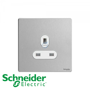 Schneider Ultimate 1 Gang Socket Stainless Steel White