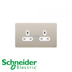 Schneider Ultimate 2 Gang Socket Pearl Nickel White