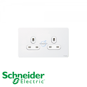 Schneider Ultimate 2 Gang Socket Pearl Metal White