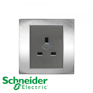Schneider Unica 1 Gang 13A Socket Outlet Bright Chrome