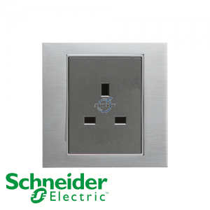 Schneider Unica 1 Gang 13A Socket Outlet Ice Aluminium