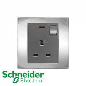 Schneider Unica 1 Gang 13A Switched Socket Outlet w/ Neon Bright Chrome