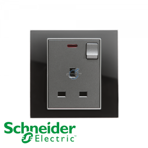 Schneider Unica 1 Gang 13A Switched Socket Outlet w/ Neon Black Mirror