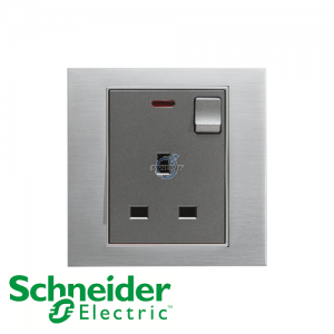 Schneider Unica 1 Gang 13A Switched Socket Outlet w/ Neon Ice Aluminium
