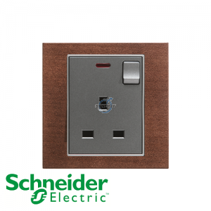 Schneider Unica 1 Gang 13A Switched Socket Outlet w/ Neon Tobacco
