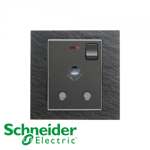 Schneider Unica 1 Gang 15A Switched Socket Outlet w/ Neon Natural Slate
