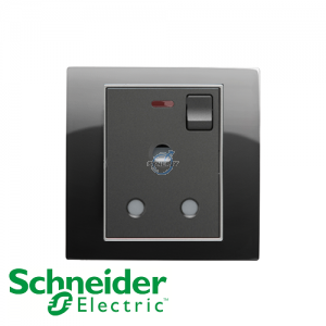 Schneider Unica 1 Gang 15A Switched Socket Outlet w/ Neon Rhodium Black