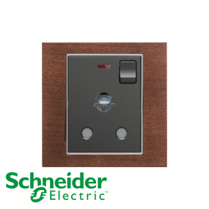 Schneider Unica 1 Gang 15A Switched Socket Outlet w/ Neon Tobacco