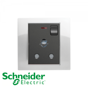 Schneider Unica 1 Gang 15A Switched Socket Outlet w/ Neon White