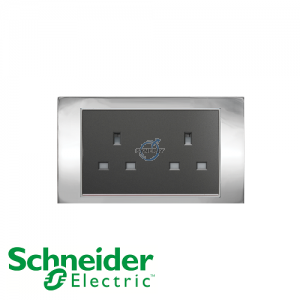Schneider Unica 2 Gang 13A Socket Outlet Bright Chrome
