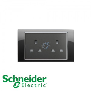 Schneider Unica 2 Gang 13A Socket Outlet Rhodium Black