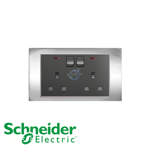 Schneider Unica 2 Gang 13A Switched Socket Outlet w/ Neon Bright Chrome