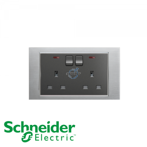 Schneider Unica 2 Gang 13A Switched Socket Outlet w/ Neon Ice Aluminium