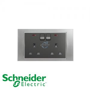 Schneider Unica 2 Gang 13A Switched Socket Outlet w/ Neon Matt Chrome