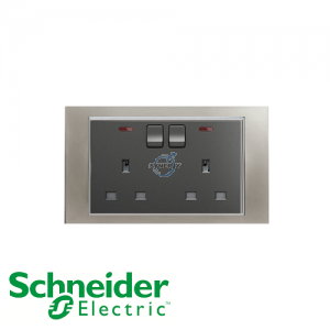 Schneider Unica 2 Gang 13A Switched Socket Outlet w/ Neon Matt Nickel