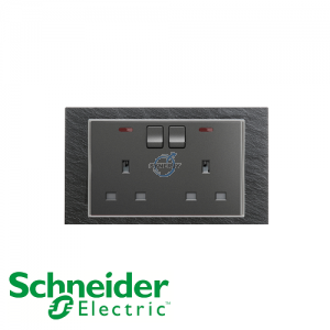 Schneider Unica 2 Gang 13A Switched Socket Outlet w/ Neon Natural Slate