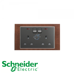 Schneider Unica 2 Gang 13A Switched Socket Outlet w/ Neon Tobacco