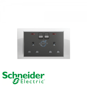 Schneider Unica 2 Gang 13A Switched Socket Outlet w/ Neon White