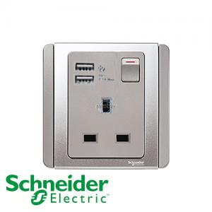 施耐德 E3000 單位 插座 連USB 充電 銀灰