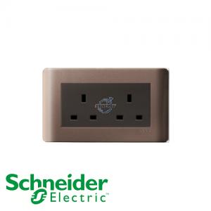 施耐德 ZENcelo 兩位 電源 插座 銀銅色