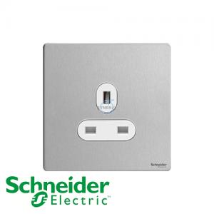 施耐德 Ultimate 單位 電源 插座 不銹鋼 白邊